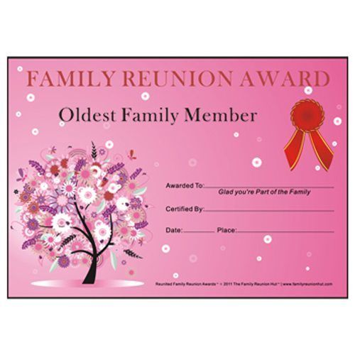 oldest family member award oak passiontheme free family reunion certificate template svg family reunion 2018 pinterest family reunions and
