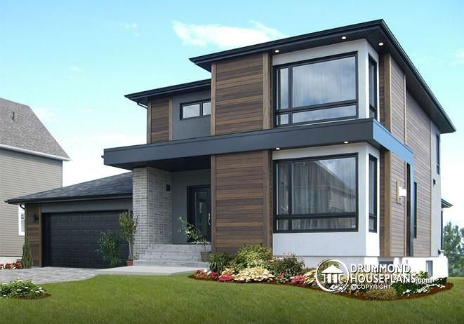 Contemporary Modern Home w3713-v1 - affordable contemporary modern home plan with family&