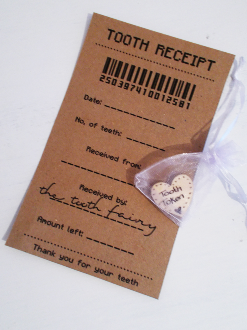 tooth fairy 'tooth receipt' & 'tooth token'. a great novelty tooth