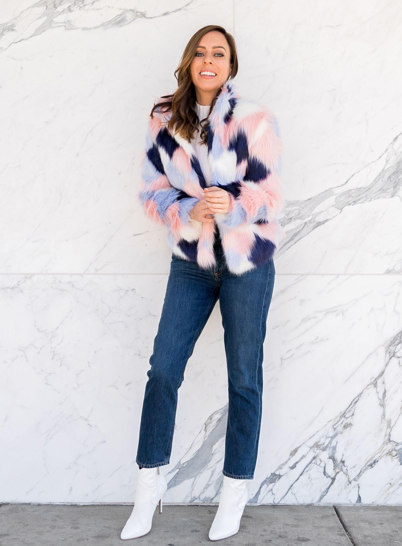7aa200865 Sydne Style wears colorblock faux fur coat jeans and white booties #fauxfur  #jeans #booties #coats #turtleneck @sydnesummer