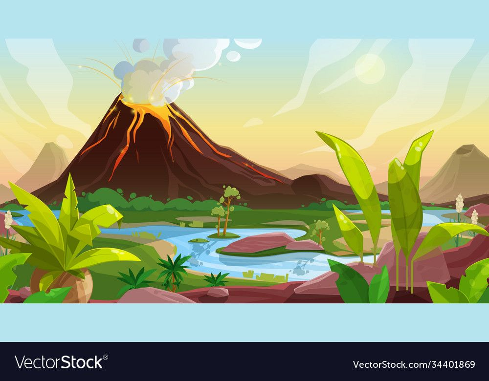 Volcano Eruption Cartoon Vector Background Of Game Interface Nature Landscape Mountain With Fountain Of Lav Mountain Illustration Illustration Cartoons Vector