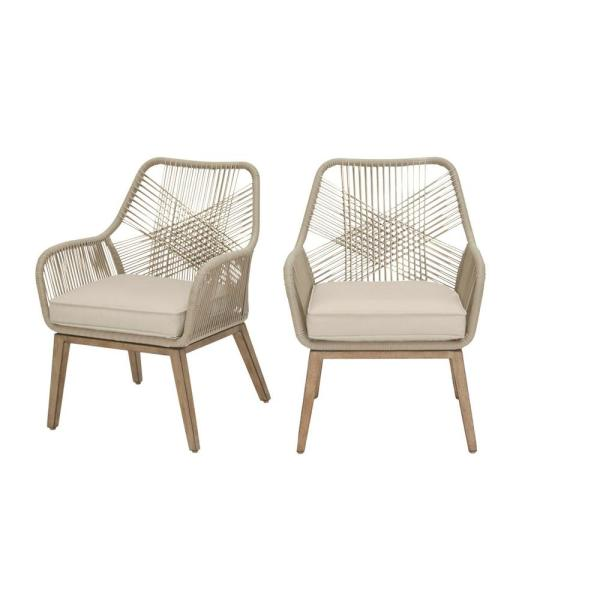 Hampton Bay Haymont Stationary Steel Wicker Outdoor Patio Dining Chair With Beige Cushion 2 Pack Frs80961 2pk The Home Depot In 2020 Patio Dining Chairs Wicker Patio Chairs Outdoor Dining Chairs