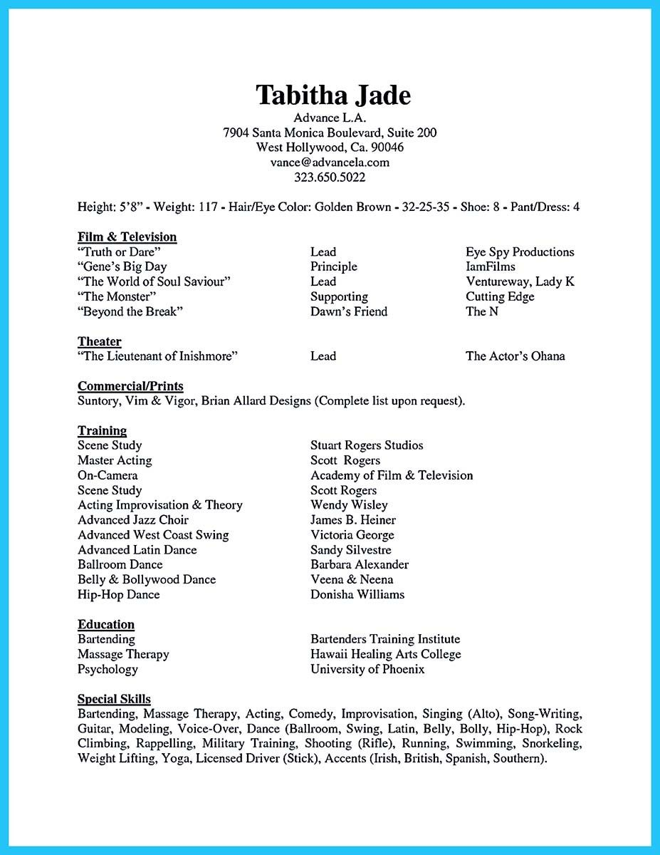 Nice Learning To Write An Audition Resume Acting Resume Dance Resume Acting Resume Template