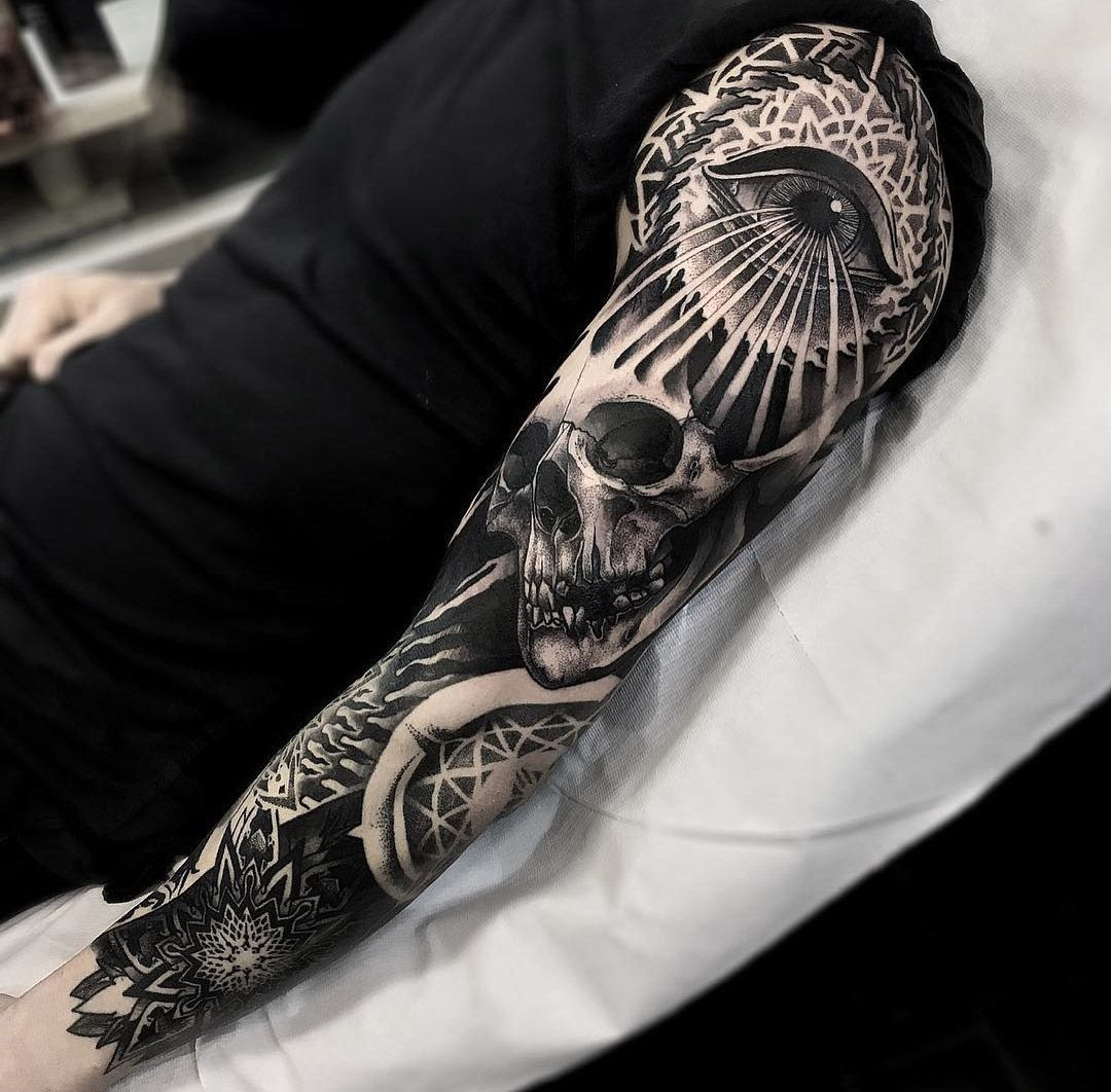 Mens Sleeve With Mandala Skull Eye Best Tattoo Design Ideas Sleeve Tattoos Tattoo Sleeve Designs Best Sleeve Tattoos