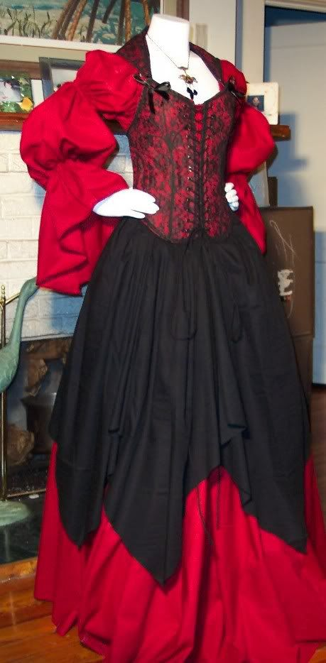 5bd370fd20e Red and Black Wench. Pirate Corset Renaissance Witch Wench custom costume  Dress Gown.  200.00