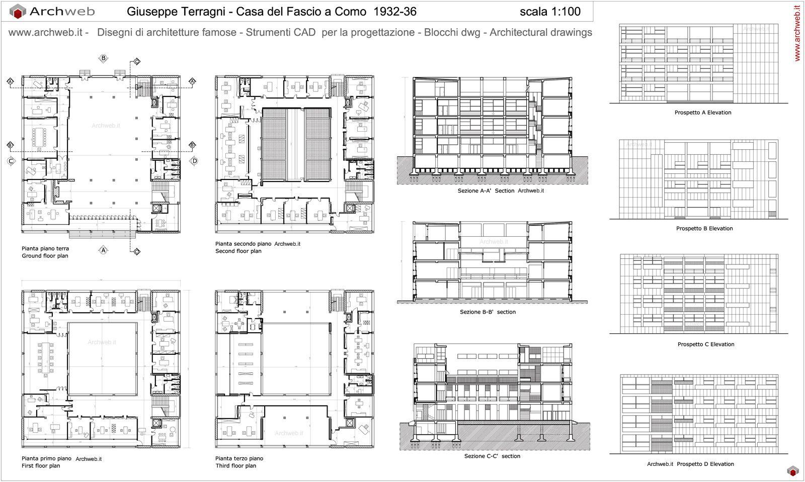 Popolare Giuseppe Terragni - Casa del Fascio drawings | Architettura  PS77