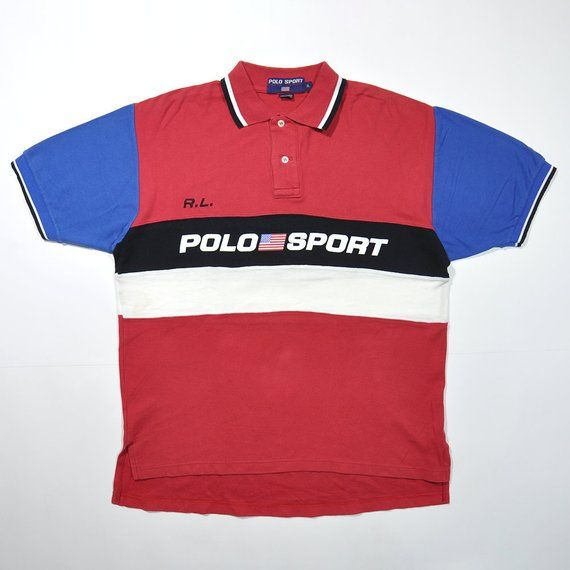 5c8e0448 Vintage 90s RL POLO SPORT Ralph Lauren Polo Rugby Shirt / Hip Hop Retro  Streetwear Old School Hypebeast Classic Hipster Multi Color Block