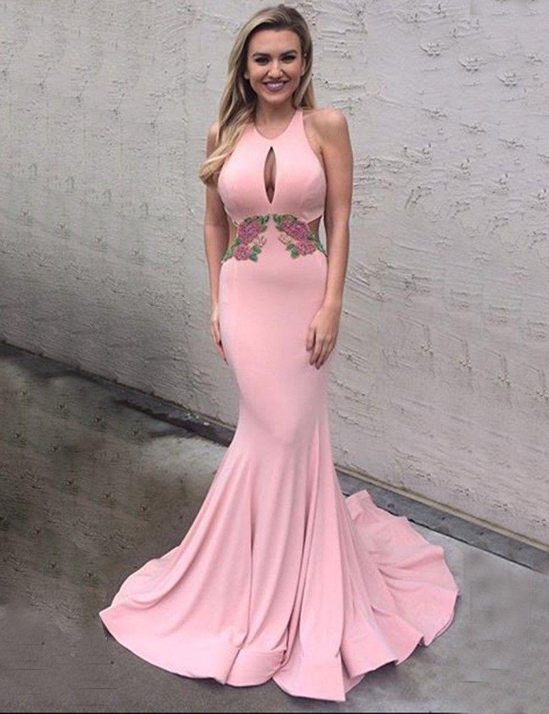 2017 prom dresses pink keyhole backless trumpet mermaid | Vestidos ...