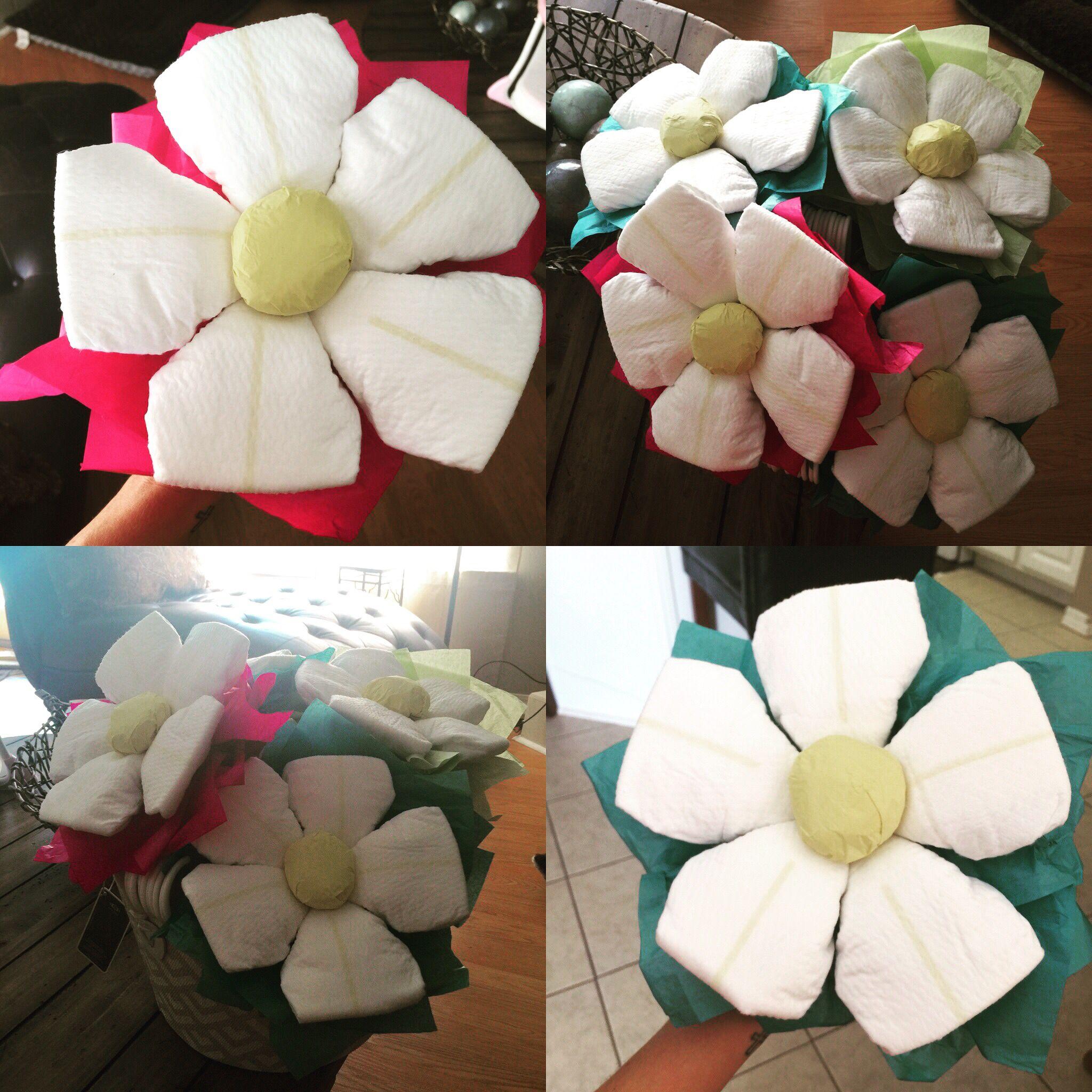 Diaper Flower Bouquet! Easy and cheap! | Creativity! | Pinterest ...