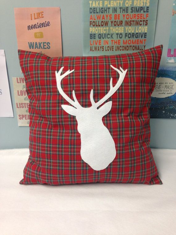 Highland Stag Red Tartan Cushion Pillow Cover By