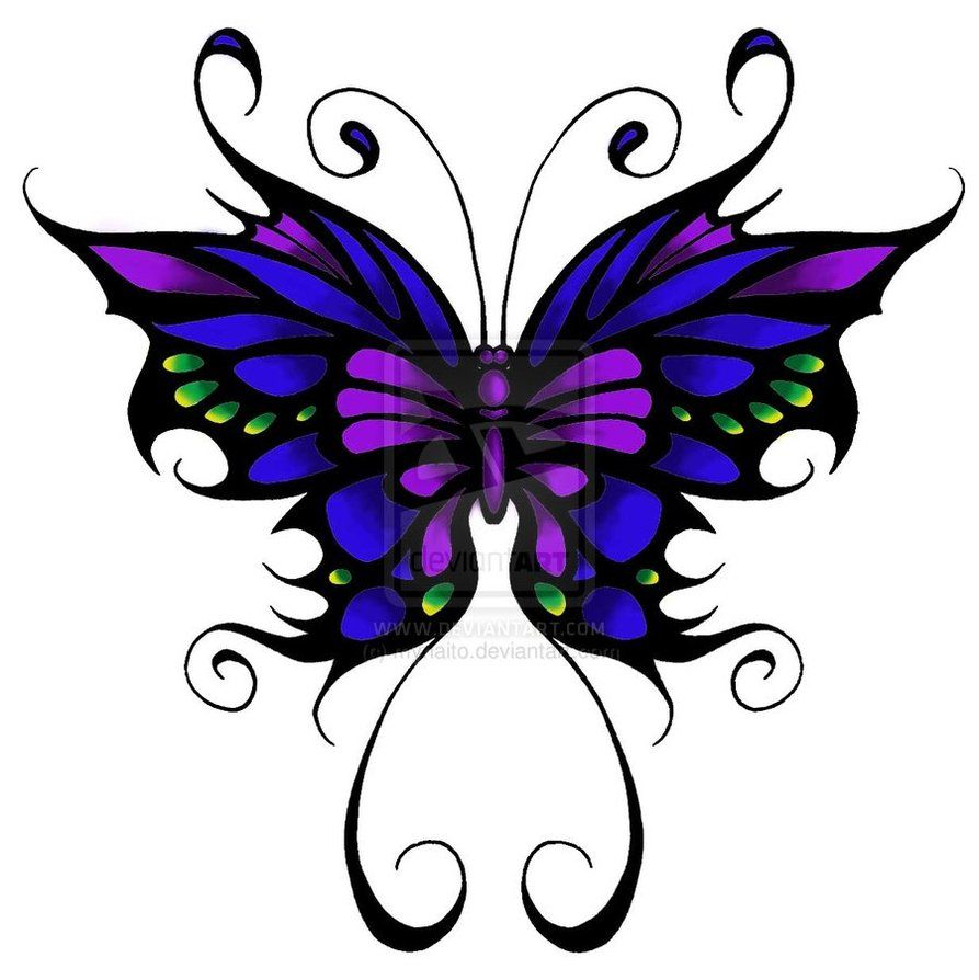 butterfly tattoo blue purple and green w black outline