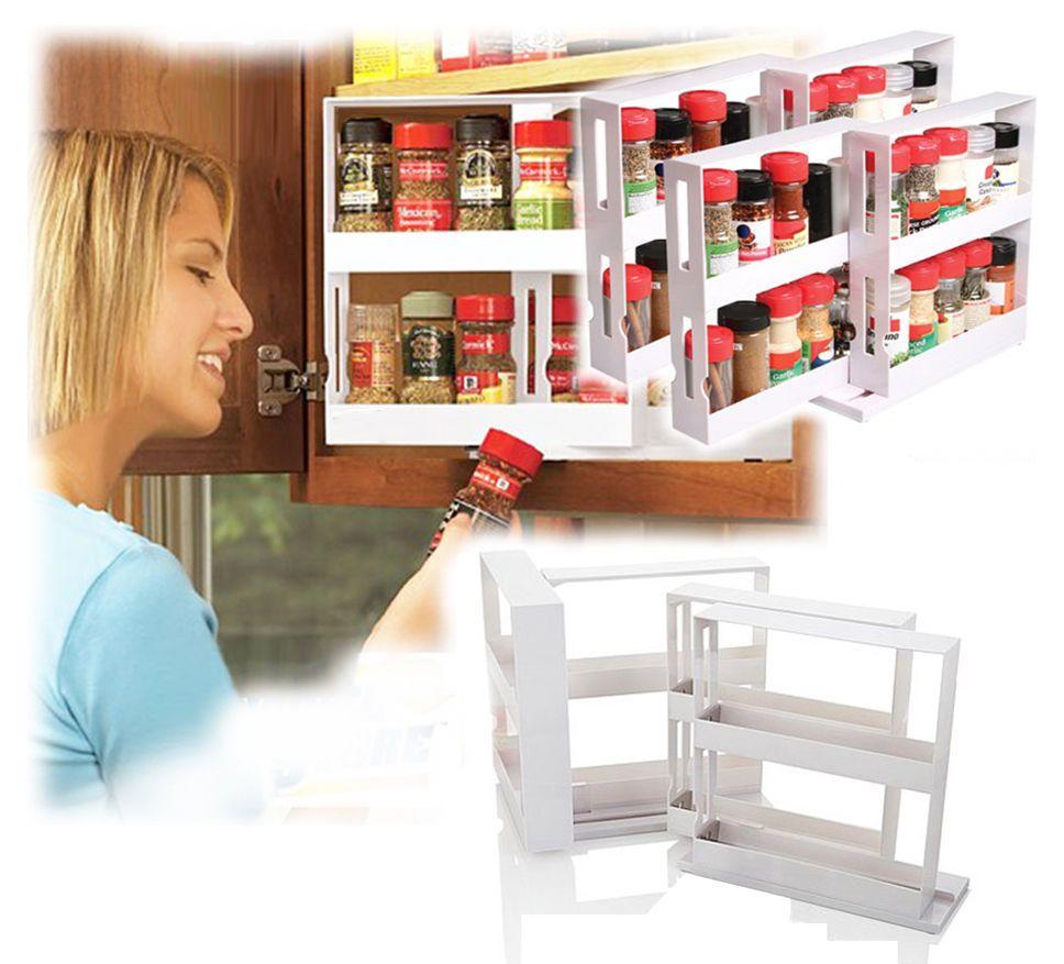 New 2 Racks Cabinet Organizer Swivel Store Deluxe Spice Rack Storage System  #Unbrand