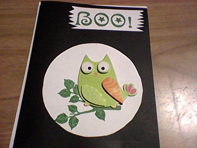 Owl sticker, stamped branch