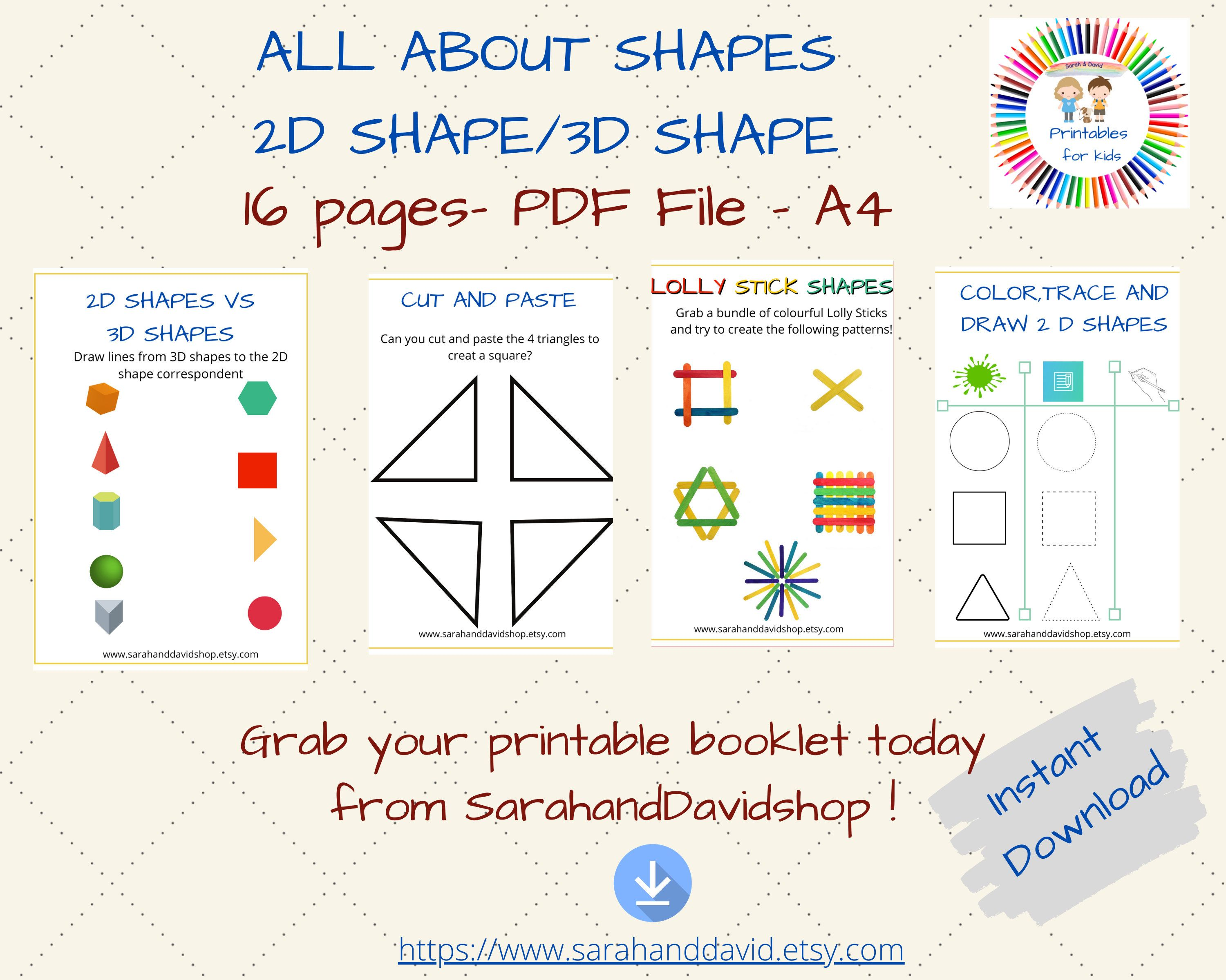 Printable Shapes Worksheets For Preschoolers Learn 2d And