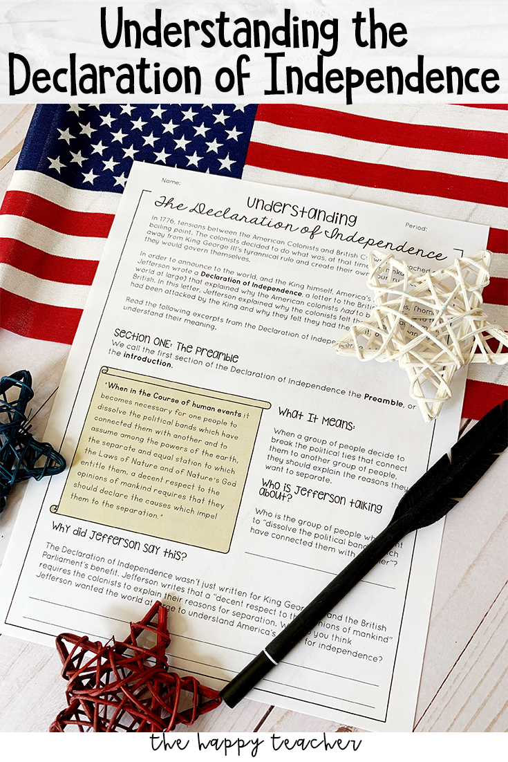 Understanding the Declaration of Independence Worksheets