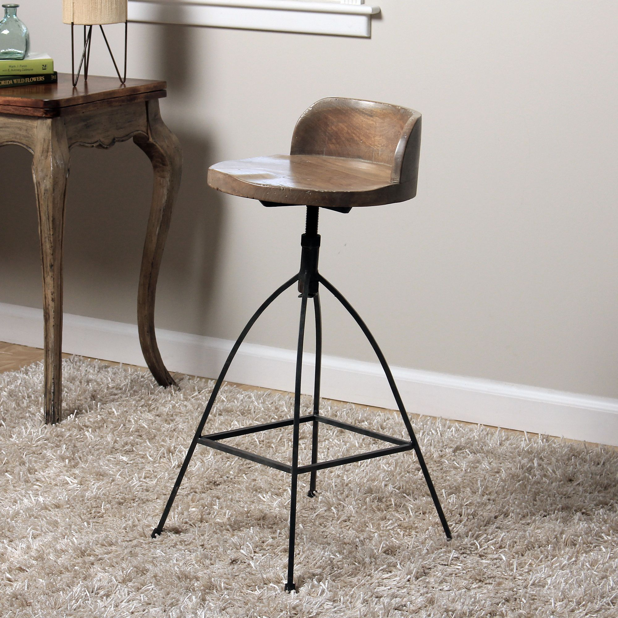 Rustic Meets Industrial In This Unique Hand Crafted Counter Stool