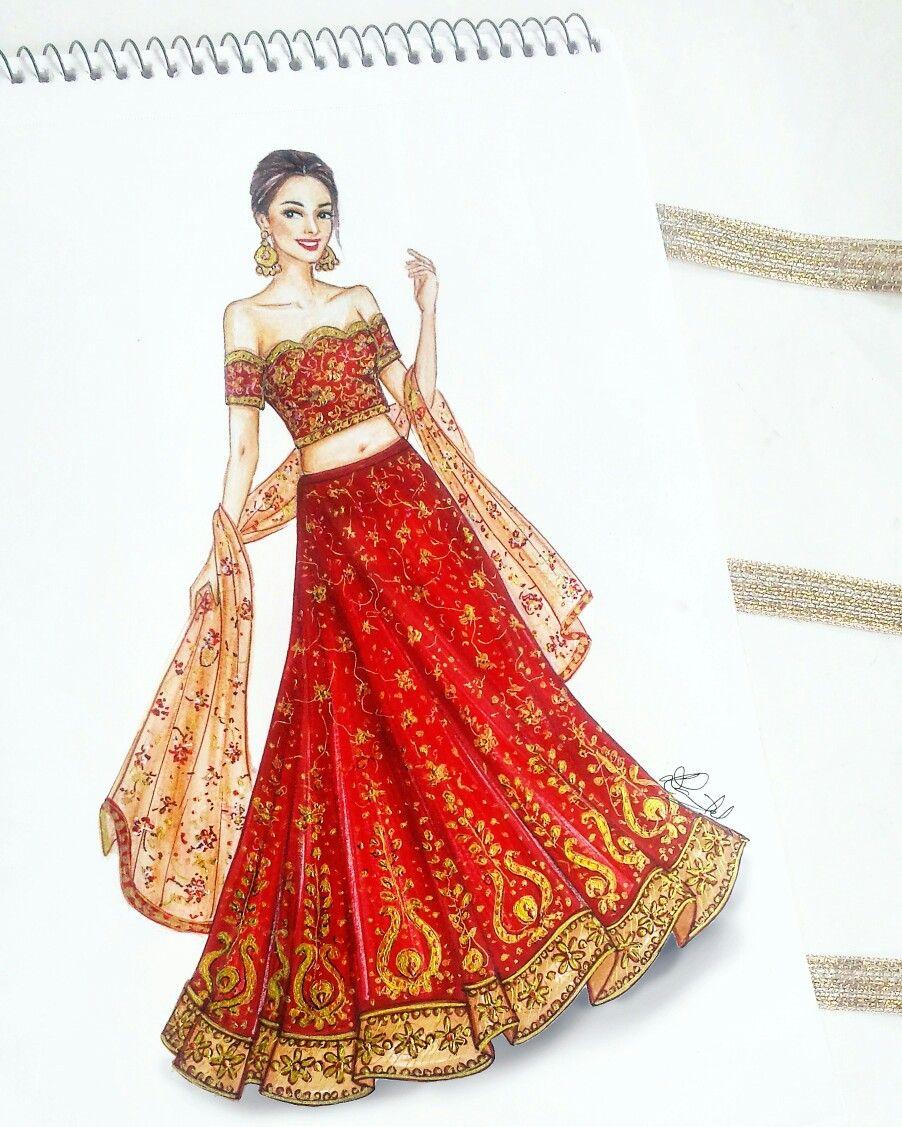 Fashionillustration Indianwear Lehnga Bridal Wedding Fashion Illustration Sketches Dresses Dress Design Drawing Fashion Illustration Dresses