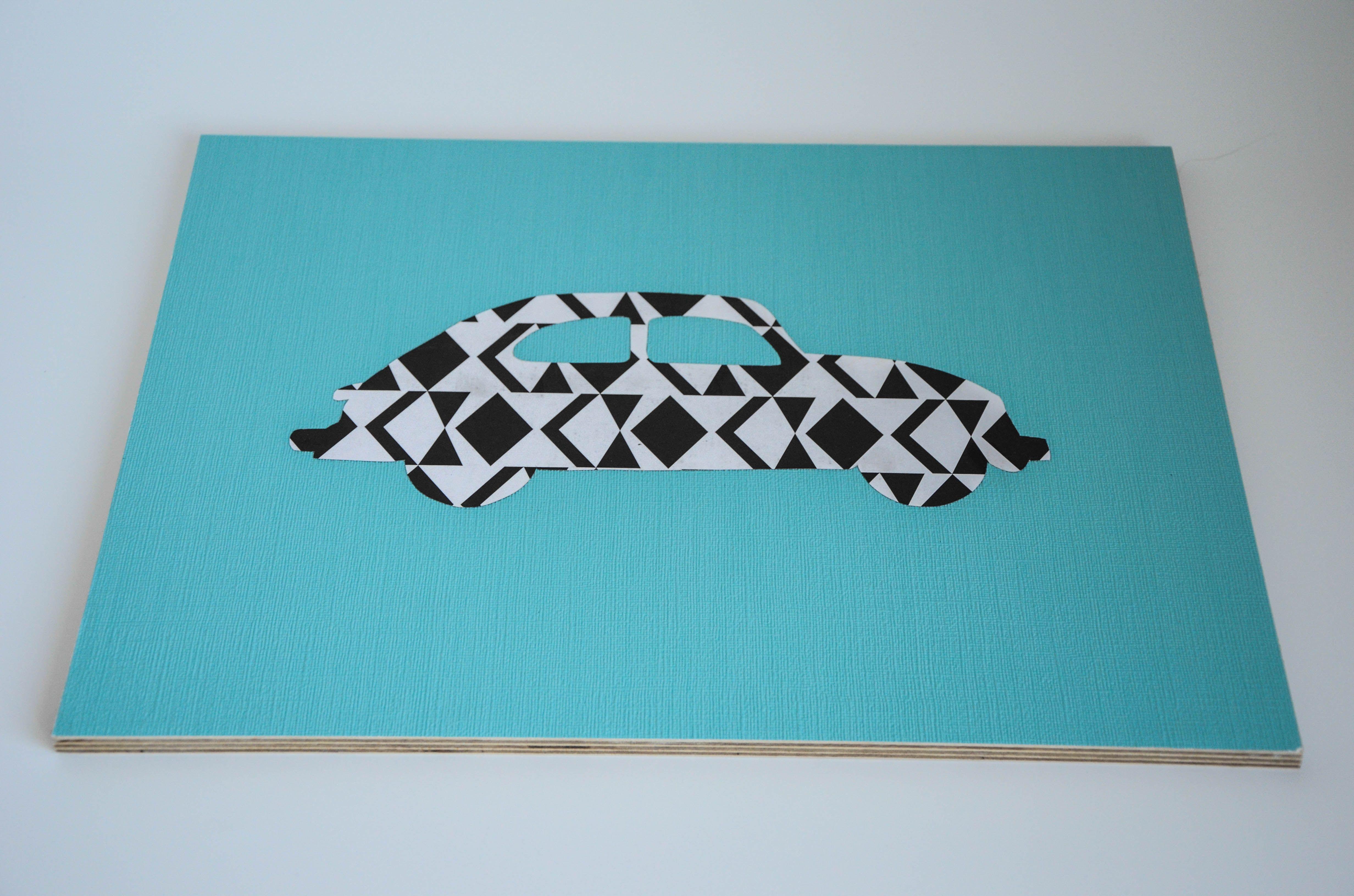 Großes Bild, Tapete auf Mehrschichtholzplatte, 40x30cm #Auto #türkis ...