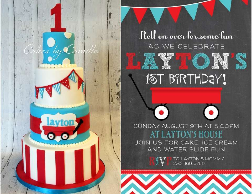 Little Red Wagon Birthday Laytons Little Red Wagon First – Red Wagon Birthday Invitations