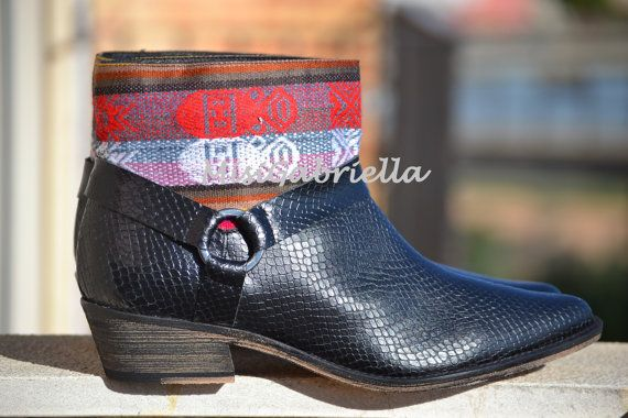 LEATHER ETHNIC BOOTS Size 39 Black Boots Ethnic por MISIGABRIELLA