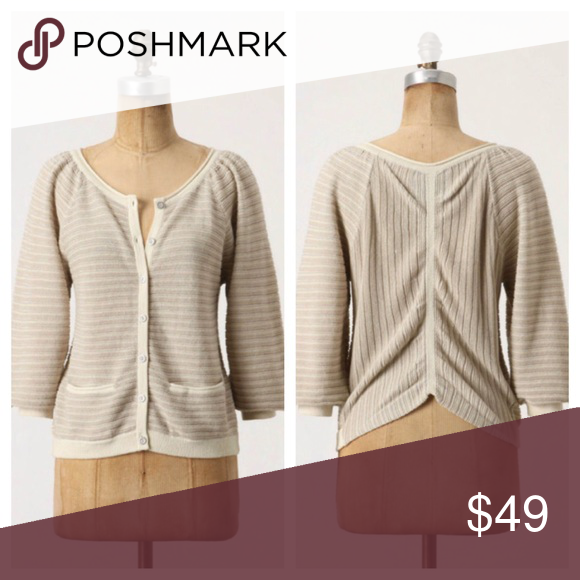 2025a54ce0eb6 Anthropologie Guinevere linen gleam tan cardigan The linear gleam cardigan  from Guinevere. Linen and cotton