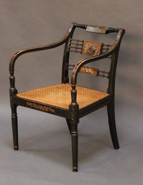 regency ebonised armchair with caned seat - photo angle #2