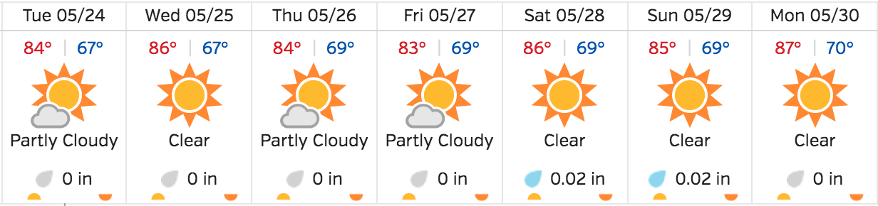 Beautiful weather this week and on through Memorial Day!  Purchase your flight today at