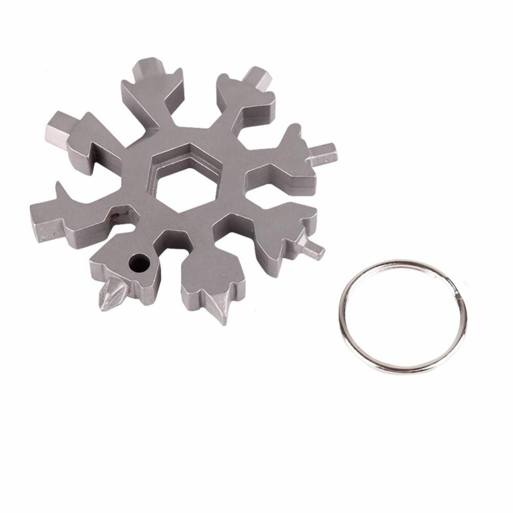 18 IN 1 Snowflake Shape Key Chain Screwdriver Stainless Multi-Tool Portable UK