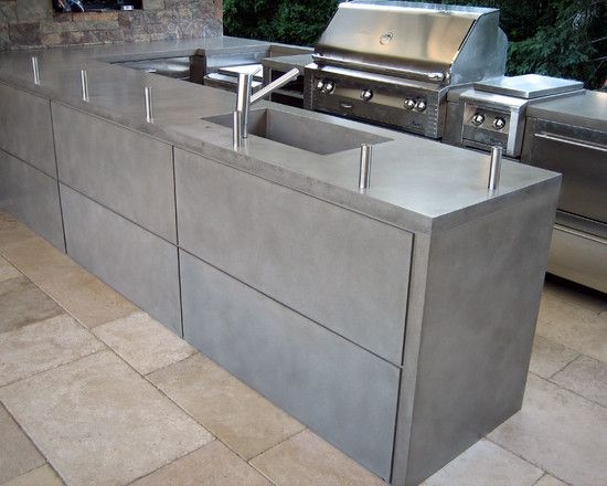 Contemporary Patio Outdoor Kitchen Design Pictures Remodel Decor And Ideas Pag Outdoor Kitchen Countertops Concrete Outdoor Kitchen Outdoor Kitchen Island