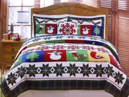 Christmas Winter Holiday Snowman Snowflake 5pc Queen Size Quilt