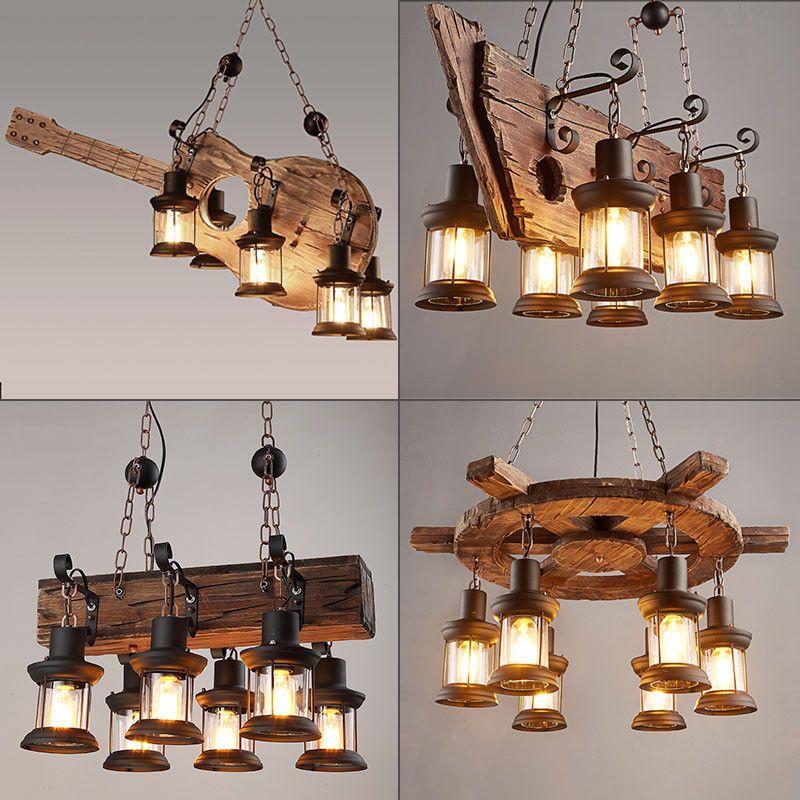 Retro Chandelier Lighting Wood Ceiling Light Fixtures Cafe Store