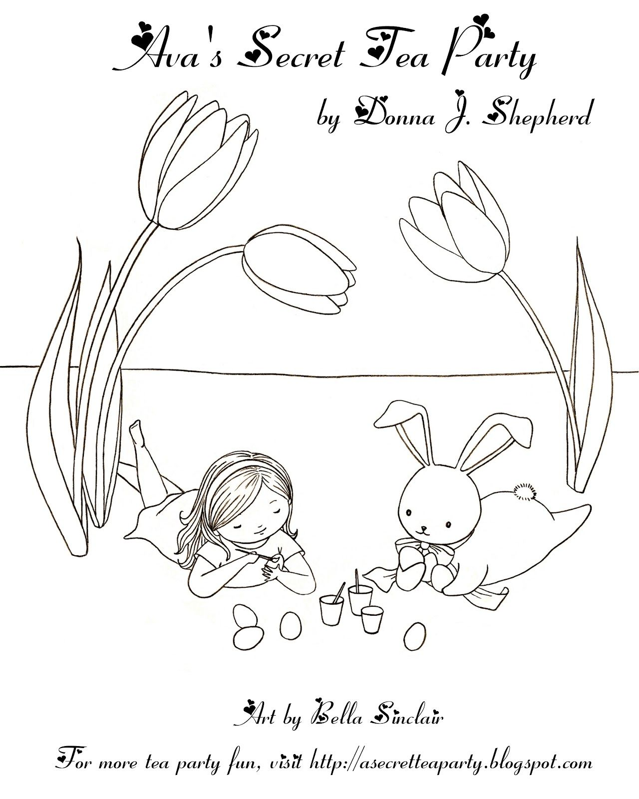 Avas Secret Tea Party Coloring Page The Easter Bunny And Ava Avas Secret Tea Party Donna S Activity Sheets For Kids And Kids At Heart Easter Coloring