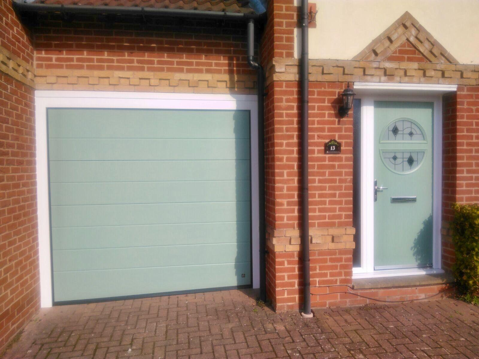 Seceuroglide insulated sectional garage door georgian cassette - Endurance Door Kyo Chartwell Green With Matching Ryterna Sectional Garage Door