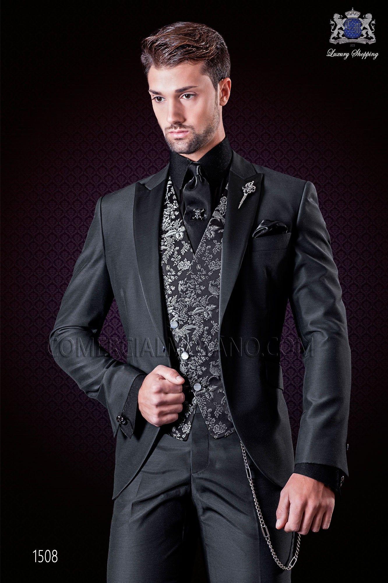 Italienische Mode Anzug anthrazit grau mit Satin Spitzen ...