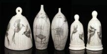 5 Mid Century Italian Glazed Pottery Vases