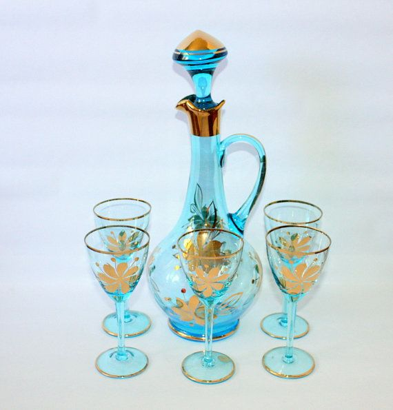 Vintage Romanian Blue Glass Decanter Set with Metallic Gold Details on Etsy, $95.00