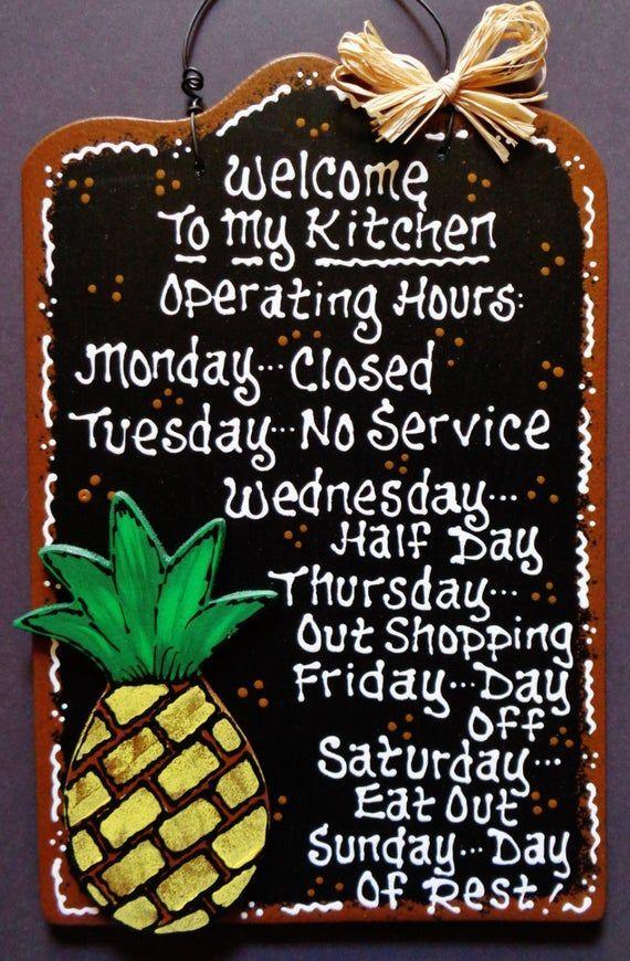 PINEAPPLE OVERLAY Kitchen Operating Hour SIGN Plaque Tropical Hawaiian Decor Wood Wooden  Doo... PINEAPPLE OVERLAY Kitchen Operating Hour SIGN Plaque Tropical Hawaiian Decor Wood Wooden  Door Hange,