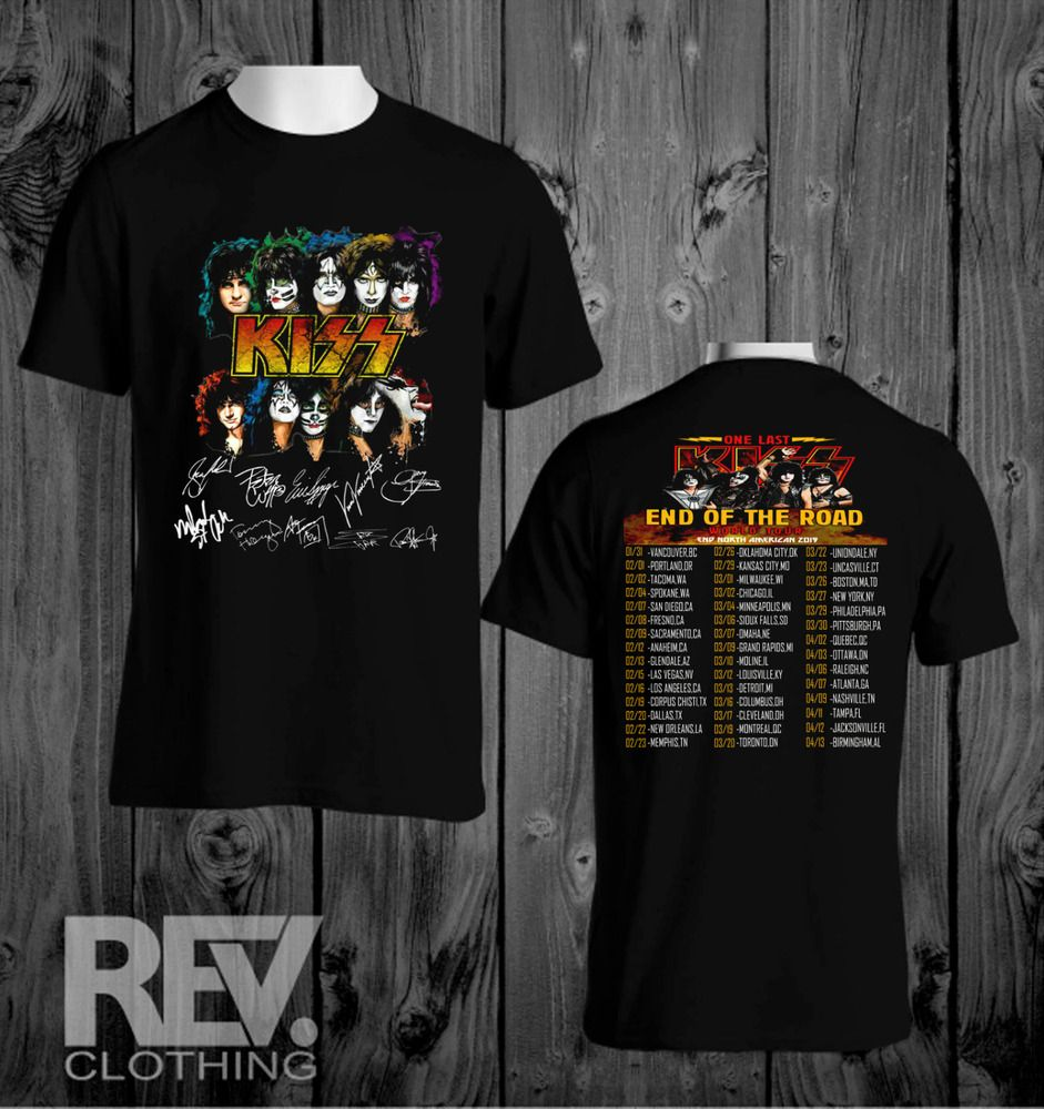 Black Official KISS Band T-Shirt End of the Road Farewell Tour 2019 S-3XL