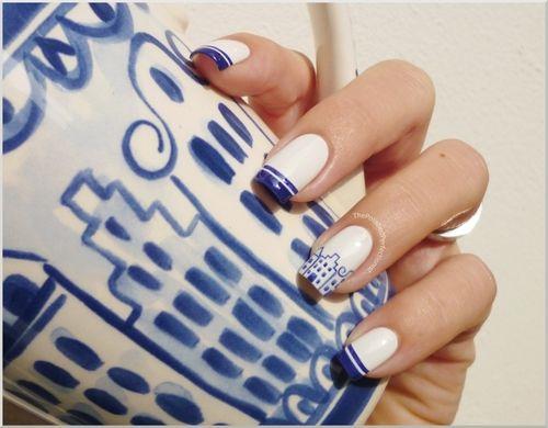 Delft blue nail art | ~Nails~ | Pinterest | Blue nails, Classy nails ...