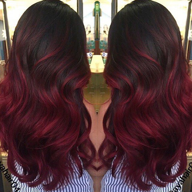 dark base color with burgundy red ends balyage lookbook