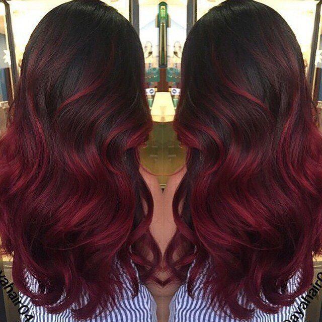 As 25 Melhores Ideias De Red Balayage Hair Burgundy No Pinterest Cor De Cabelo Vermelha