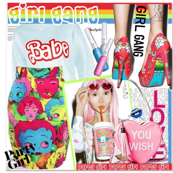 Yay! It's Galentine's Day by paculi on Polyvore featuring moda, Versace, Skinnydip, women's clothing, women's fashion, women, female, woman, misses and juniors