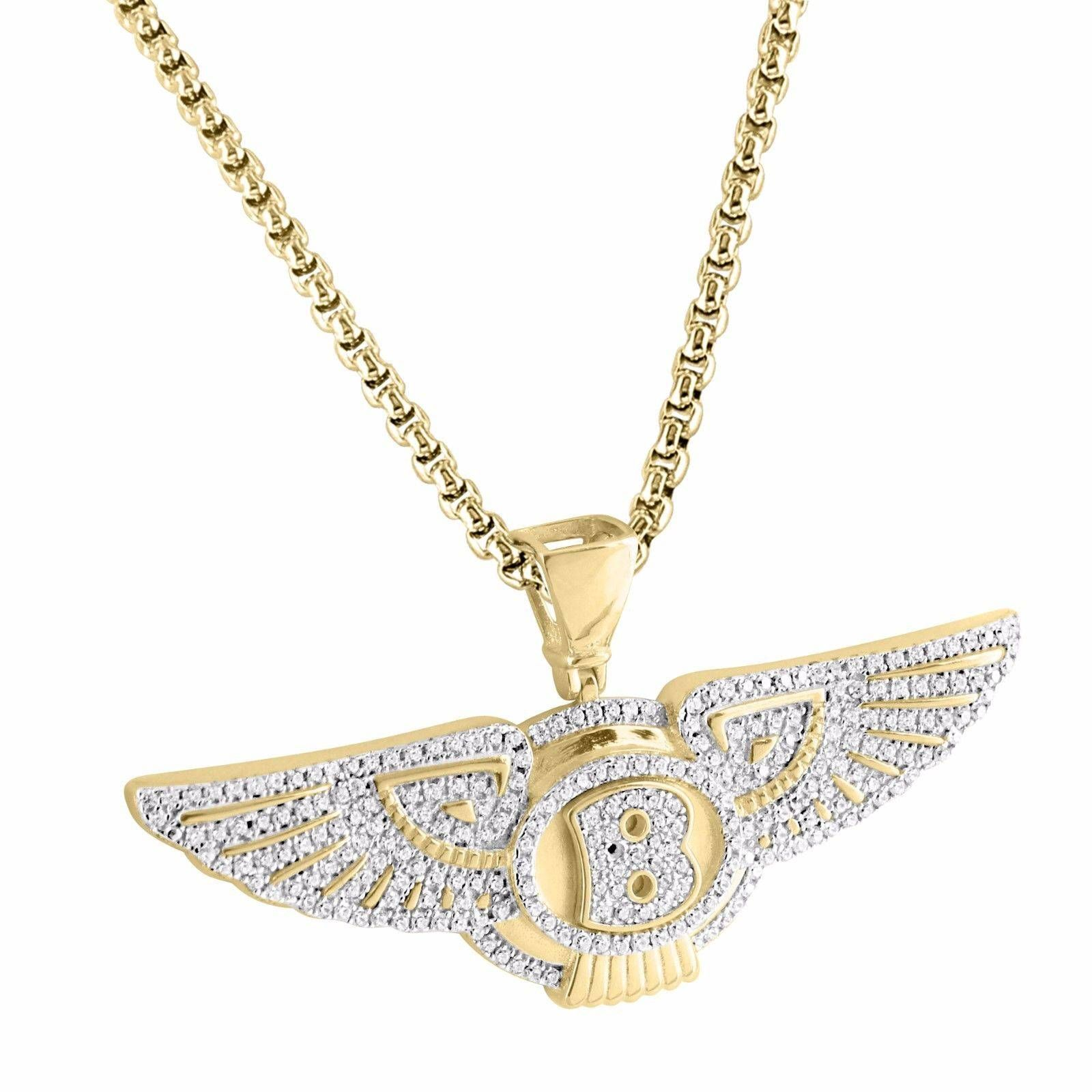 Cool Bentley Automotive Emblem Pendant 14Ok Gold Over 925 Silver