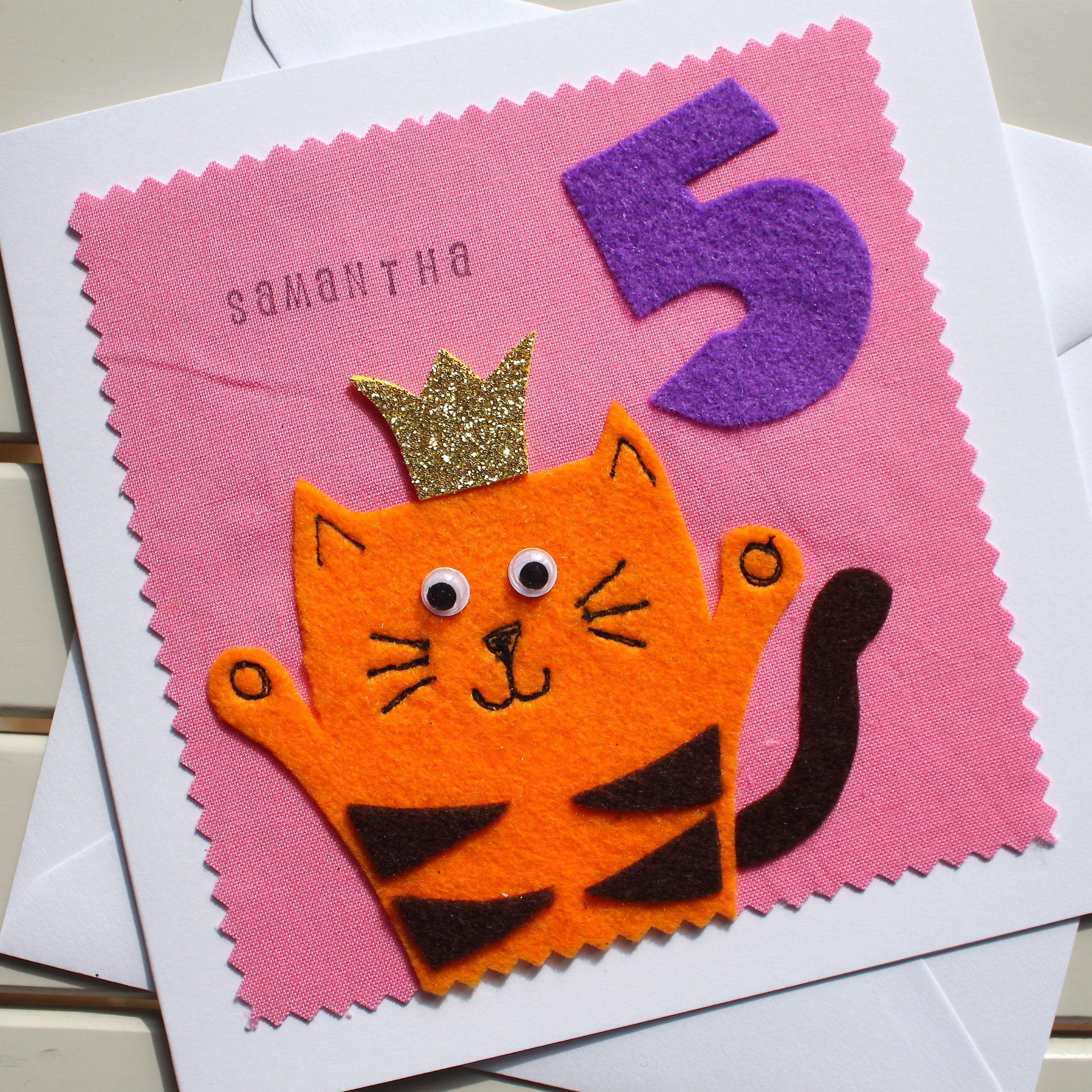 Ginger Cat Childrens Birthday Card Handmade Felt And Fabric Etsy Fabric Cards Handmade Birthday Cards Birthday Cards