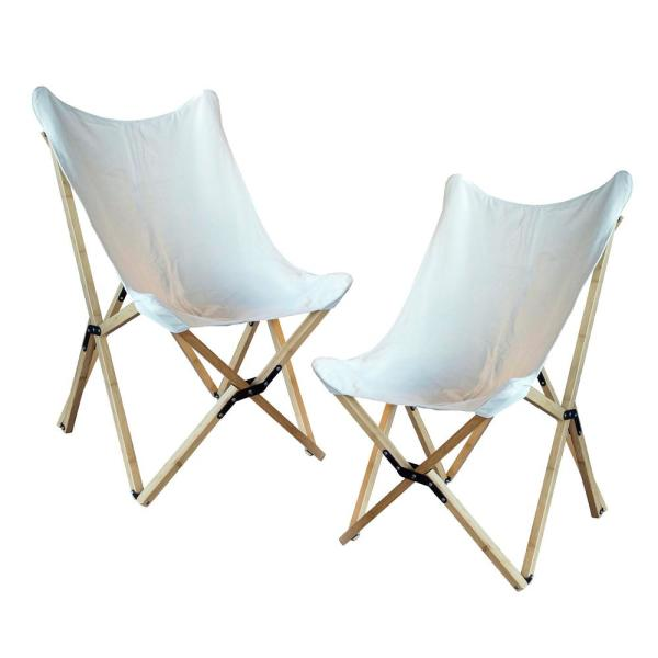 AmeriHome White Canvas and Bamboo Butterfly Chair (2Piece
