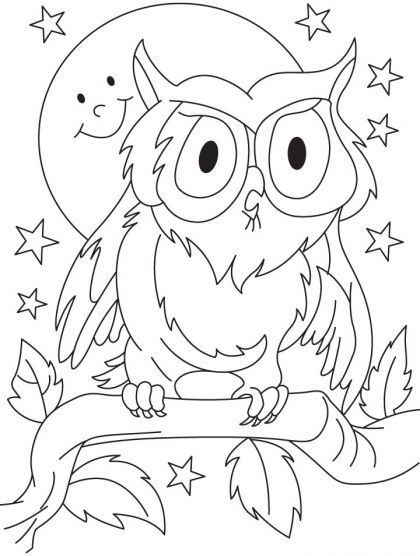 Great Horned Owl Perching On Branch Coloring Page