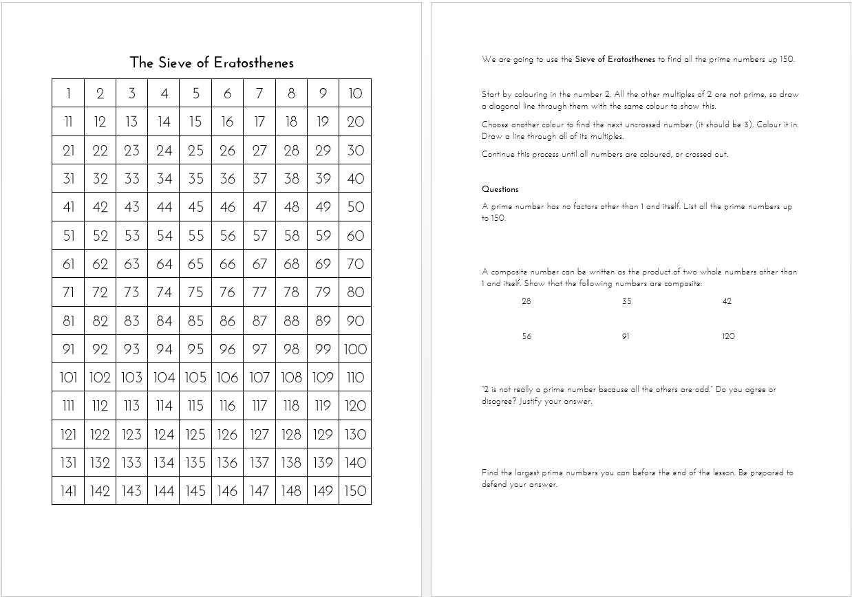 Eratosthenes Worksheet