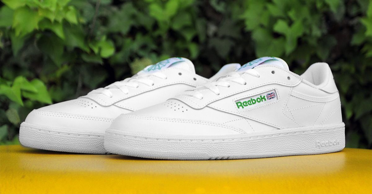 Reebok Club C 85 AR0456 White   Green Leather Upper Padded Foam Sockliner  EVA Midsole High Abrasion Rubber Outsole Width  Medium d5a963602266