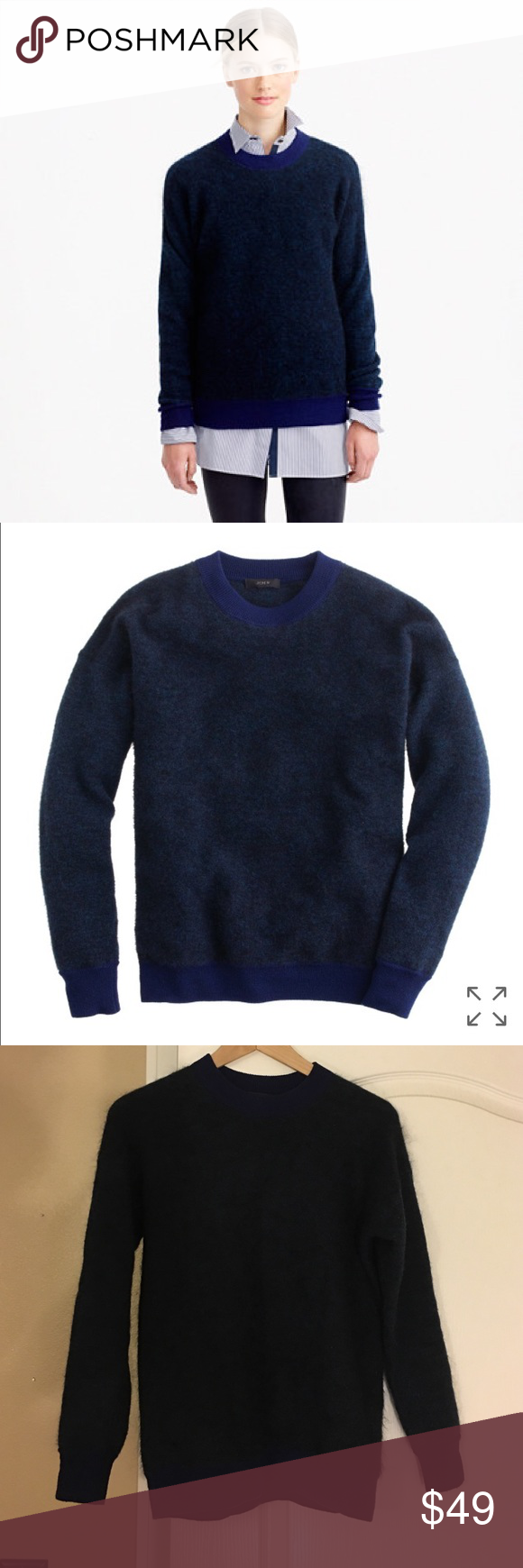 J Crew brushed mohair boyfriend sweater New without tag. Navy ...