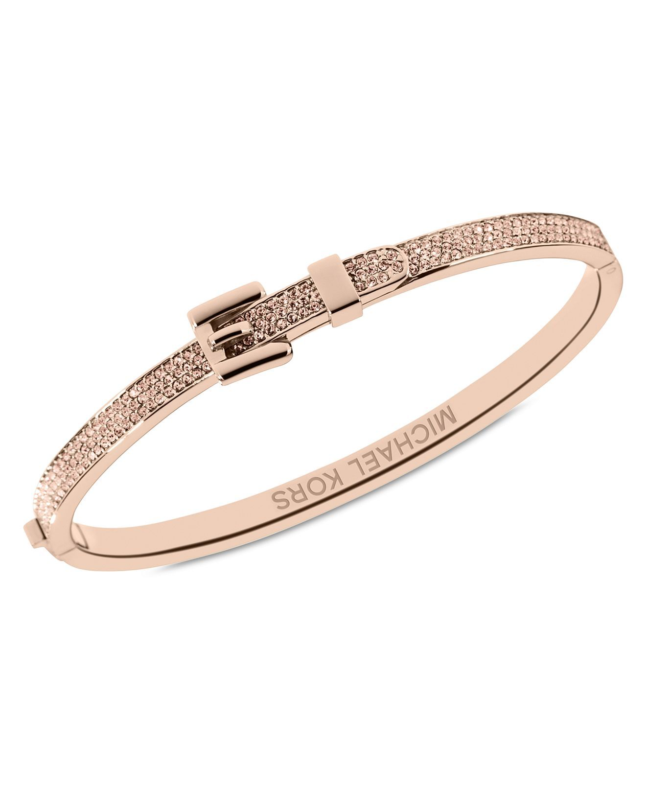 Michael Kors Bracelet Rose Gold Tone Steel Pave Buckle Bangle